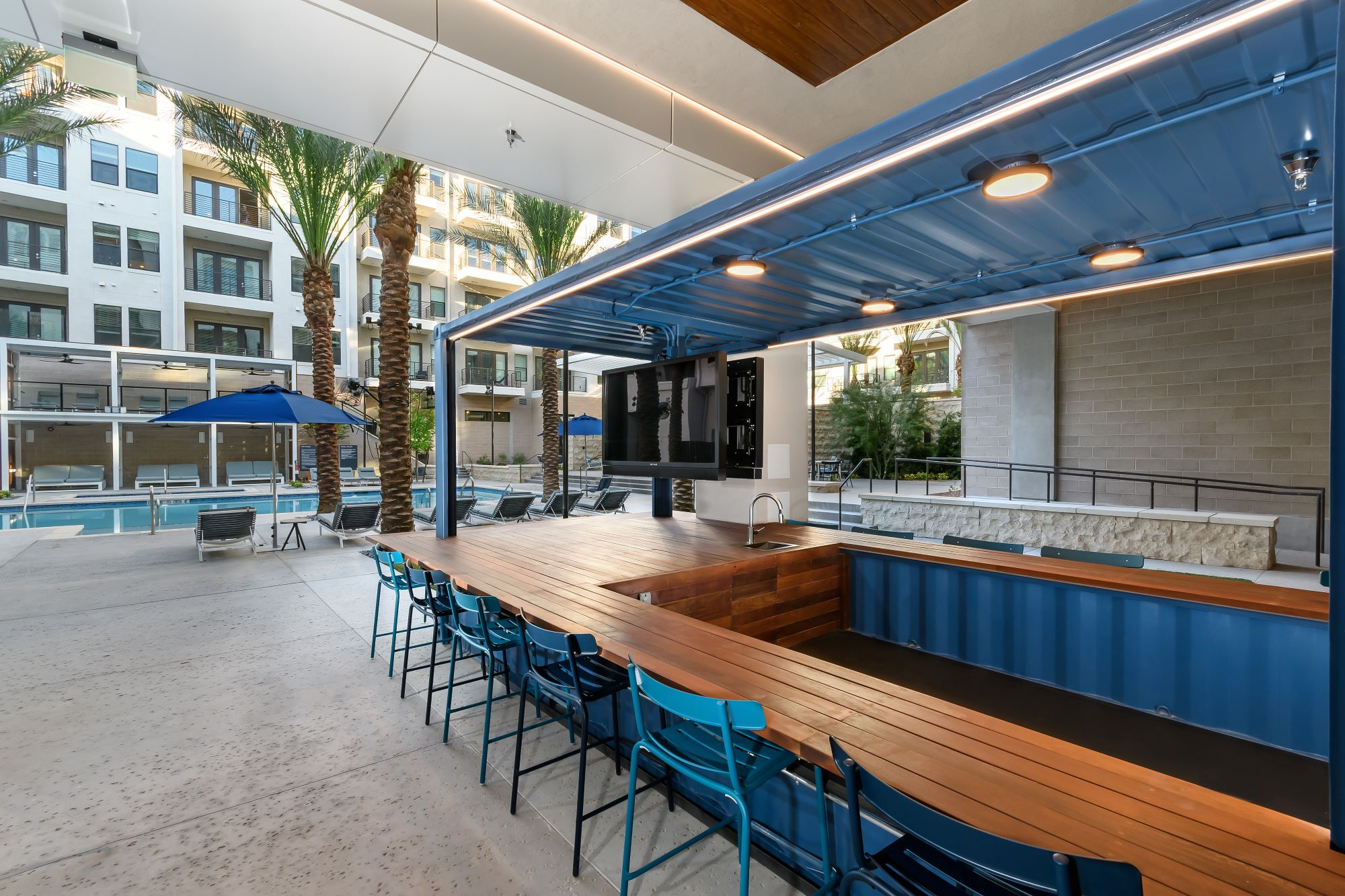 outdoor bar by the Auric Symphony Park pool in Las Vegas