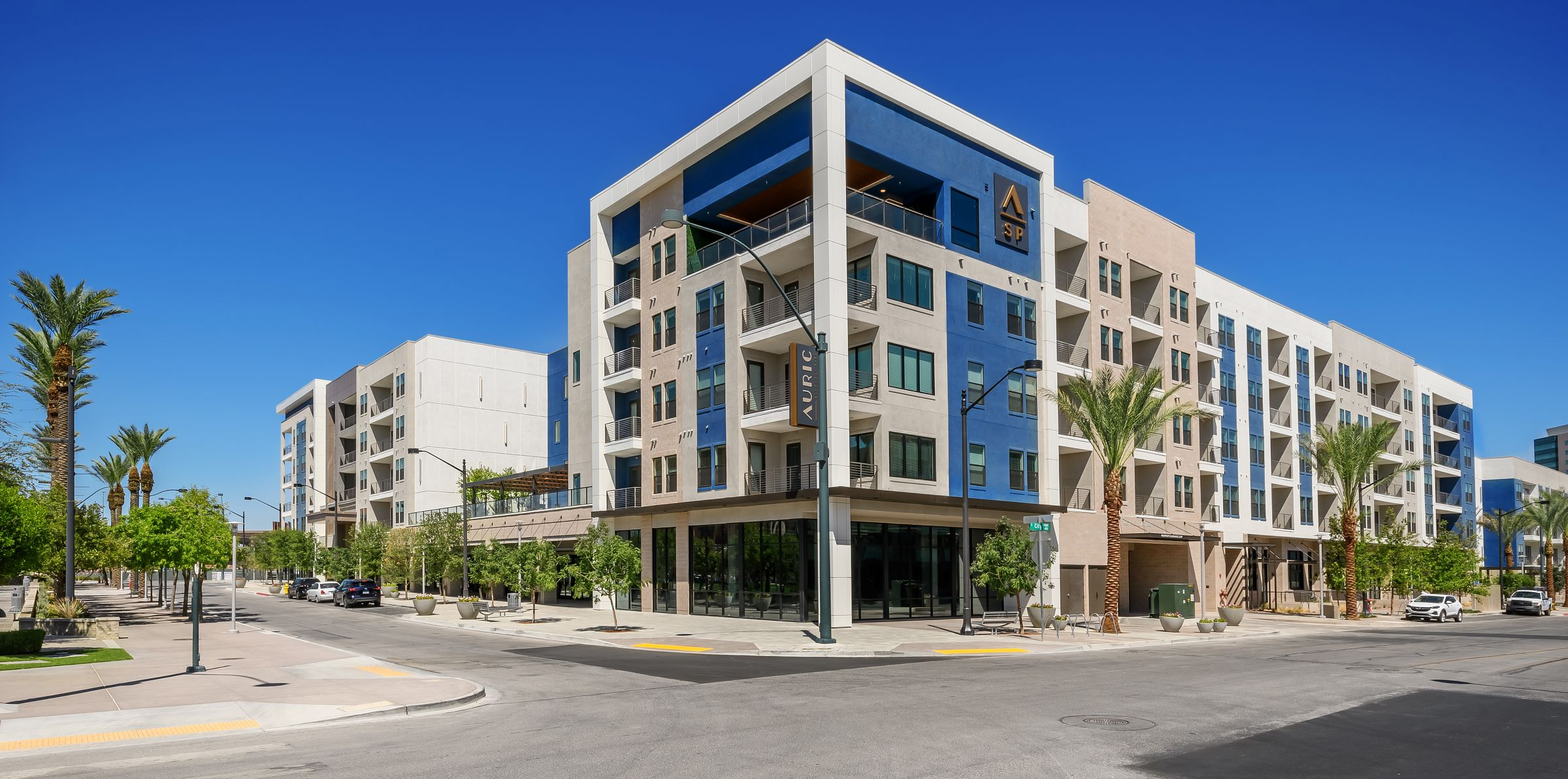 exterior view of the Auric Symphony Park apartment building in Las Vegas, Nevada
